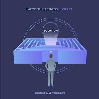 Concetto di business piatto con labirinto