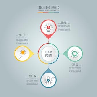 Concetto di business timeline con 4 opzioni.