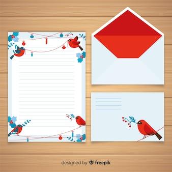 Concetto di busta e lettera di natale piatto