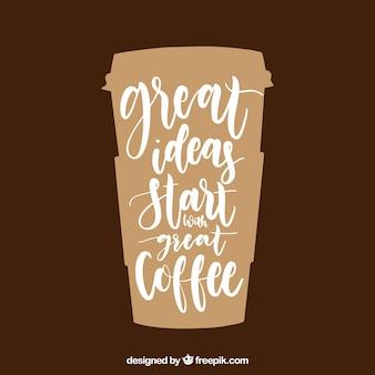 Concetto di caffè moderno con lettering