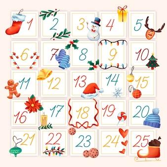 Concetto di calendario dell'avvento dell'acquerello