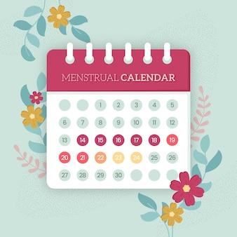 Concetto di calendario mestruale con fiori