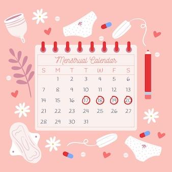 Concetto di calendario mestruale illustrato