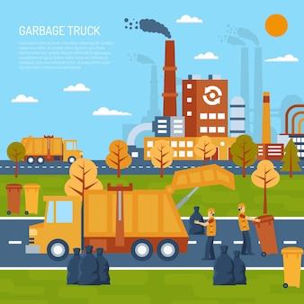 Concetto di camion della spazzatura