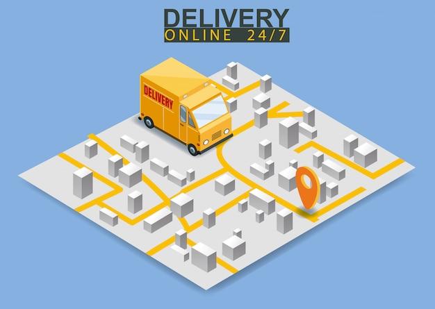 Concetto di camion di consegna isometrica. mappa e-mail logstics shopping online concetto e-commerce isometrico