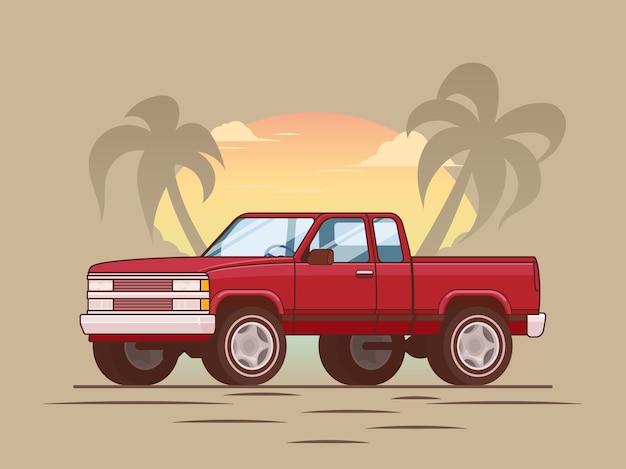 Concetto di camioncino moderno rosso americano
