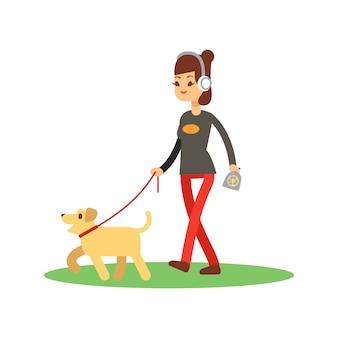 Concetto di camminata pulito dei cani - la ragazza cammina cane isolato su bianco