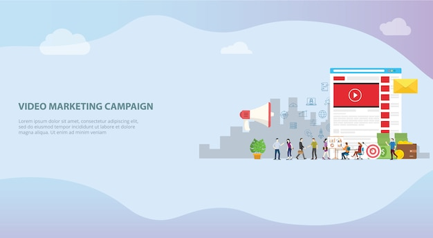 Concetto di campagna di marketing video per modello di sito web o home page di destinazione