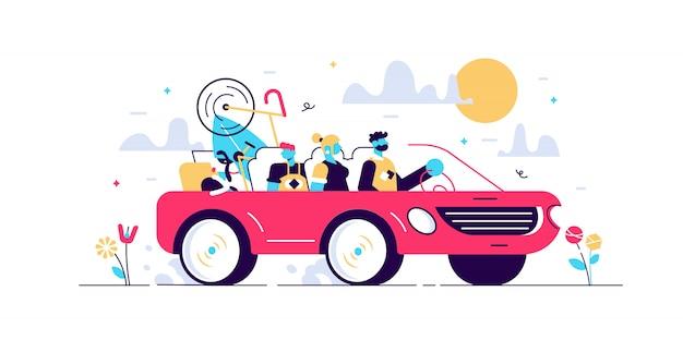 Concetto di campeggio di viaggio stradale della famiglia, illustrazione minuscola delle persone.