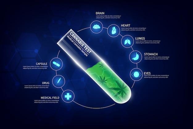 Concetto di cannabis per uso medico, campione di cannabis in provetta