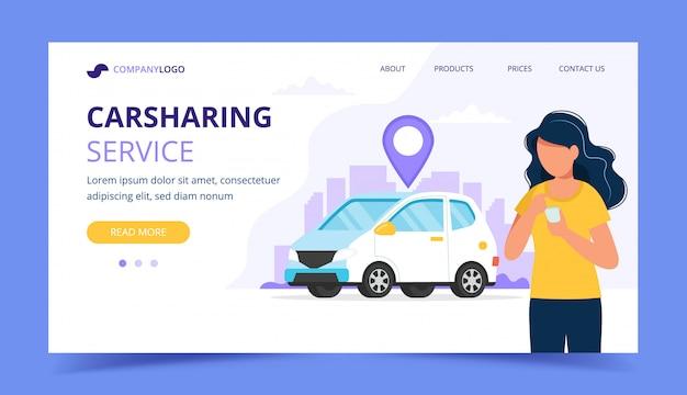 Concetto di car sharing. donna con smartphone. modello di pagina di destinazione.