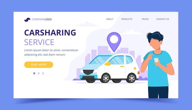 Concetto di car sharing. uomo con lo smartphone. modello di pagina di destinazione.