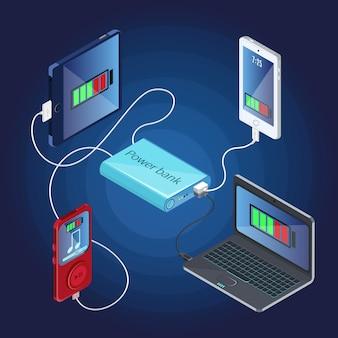 Concetto di caricabatterie banca di potere isometrica
