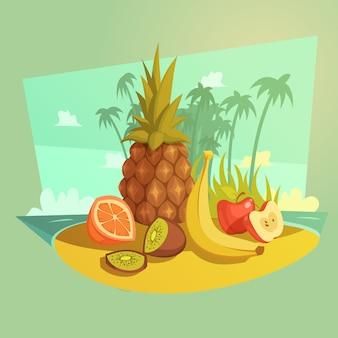 Concetto di cartone animato di frutta e spiaggia