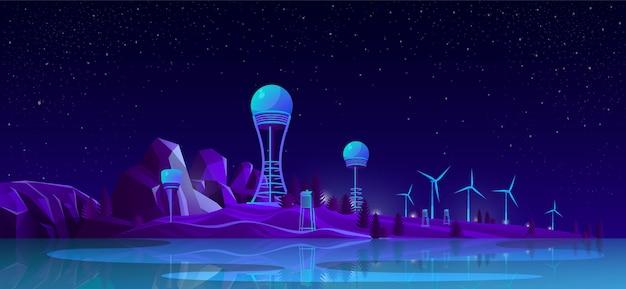 Concetto di cartone animato di generazione di energia rinnovabile