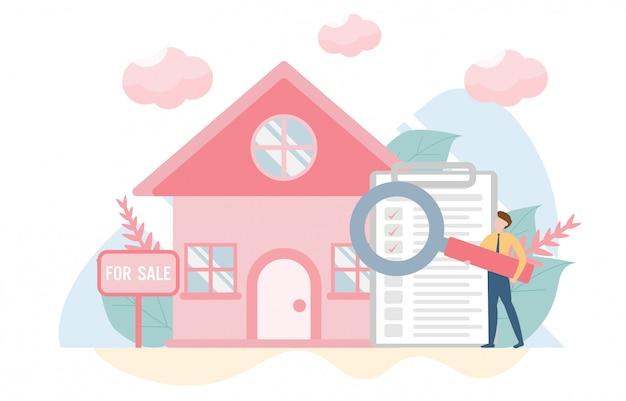 Concetto di casa d'acquisto con carattere