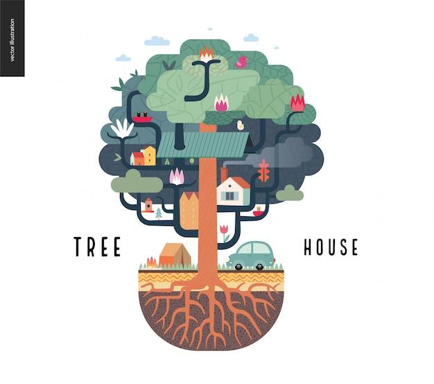 Concetto di casa sull'albero