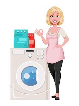 Concetto di casalinga, giovane donna piuttosto elegante