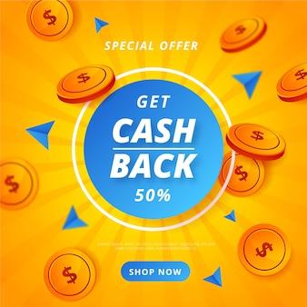 Concetto di cashback colorato con monete
