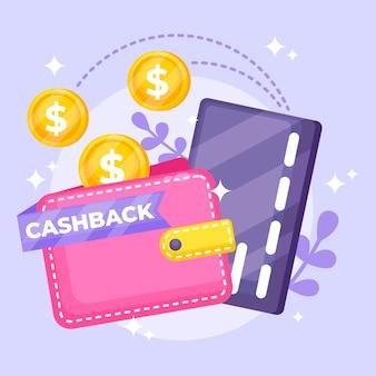 Concetto di cashback con carta di credito