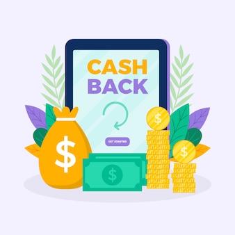 Concetto di cashback con denaro