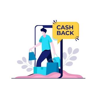 Concetto di cashback con lo shopping online