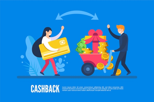 Concetto di cashback con persone e denaro
