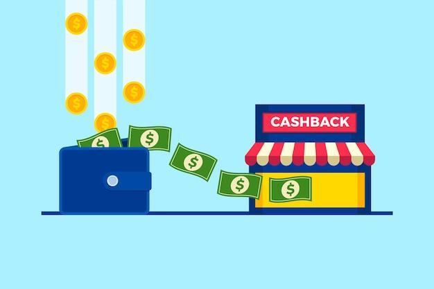 Concetto di cashback con portafoglio e soldi