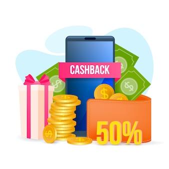 Concetto di cashback con riduzione