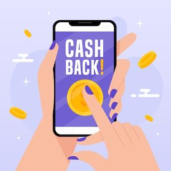 Concetto di cashback con smartphone