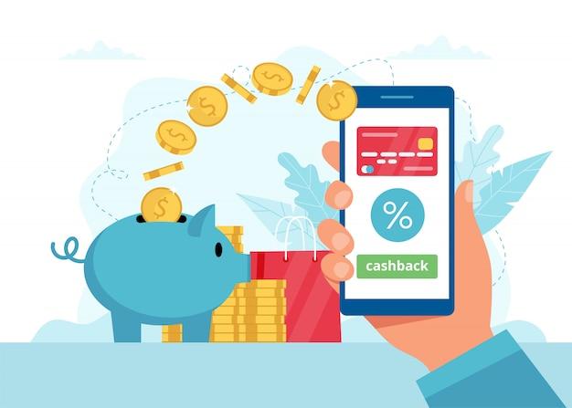 Concetto di cashback - mano che tiene uno smartphone con app, i soldi vanno in un salvadanaio.