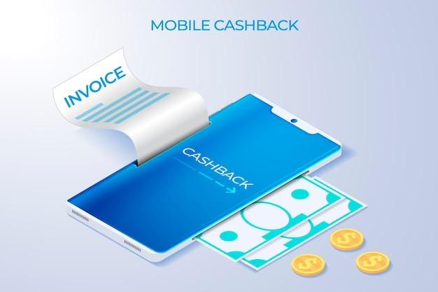 Concetto di cashback mobile con smartphone