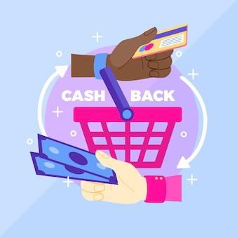 Concetto di cashback per lo shopping design