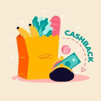 Concetto di cashback per lo shopping