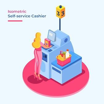 Concetto di cassa isometrica self service