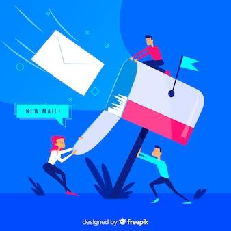 Concetto di cassetta postale per landing page