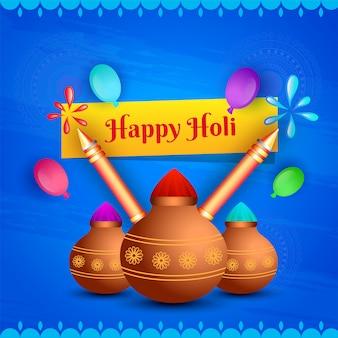 Concetto di celebrazione happy holi, vasi di fango lucidi pieni di colo secco