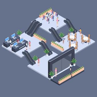 Concetto di centro commerciale isometrico