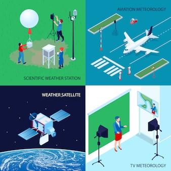 Concetto di centro meteorologico meteorologico isometrico di quattro quadrati con stazione meteorologica scientifica tv e meteorologia dell'aviazione