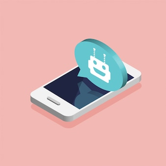 Concetto di chat bot. smartphone isometrico con avatar robot. design moderno di bolle di messaggistica e finestre di dialogo. chiacchierando tra robot e umano. illustrazione.