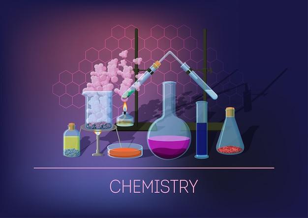 Concetto di chimica con attrezzature chimiche e cristalleria, esecuzione esperimenti e reazioni chimiche.