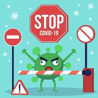 Concetto di chiusura del confine con coronavirus