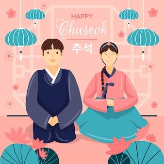 Concetto di chuseok disegnato a mano