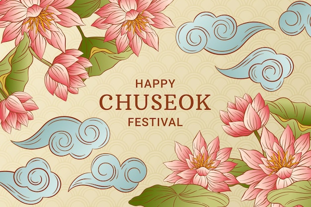 Concetto di chuseok felice disegnato a mano