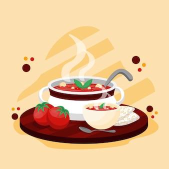 Concetto di cibo comfort con zuppa di pomodoro