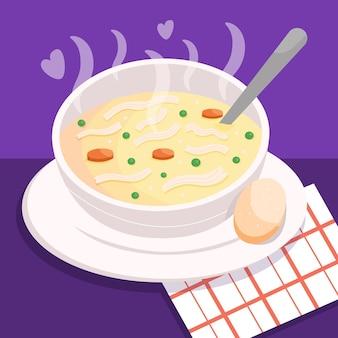 Concetto di cibo comfort con zuppa