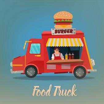 Concetto di cibo di strada con burger food truck e venditore