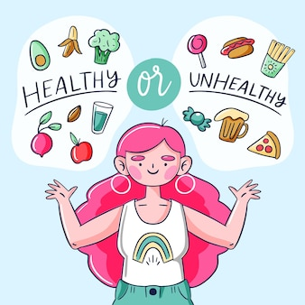 Concetto di cibo sano o malsano