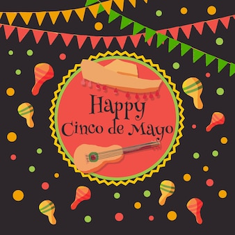 Concetto di cinco de mayo dell'acquerello