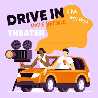 Concetto di cinema drive-in